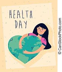 feier, frau, herz, plakat, erde, planet, tag, gesundheit