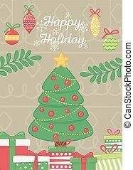 feiertag, baum, kugeln, zweige, plakat, stern, dekorativ, feier, glücklich, geschenke