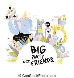feiertag, karikatur, glücklich, lustiges, karte, geburstag, animals.