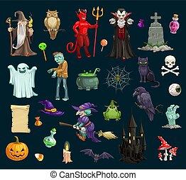 feiertag, vektor, halloween, charaktere, übel