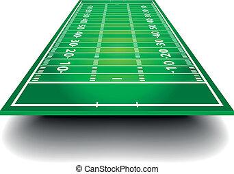 feld, amerikanische , fußball, perspektive
