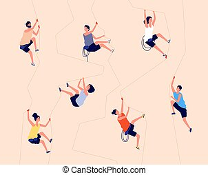 felsformation, equipment., recreation., frau, abbildung, abenteuer, wand, innen, klettern, mann, rock., kletterer, berg, vektor, turnhalle, extrem, hochklettern
