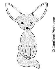 Fennec Fox Färbung Buch Vektor für Erwachsene