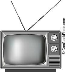 fernsehapparat, realistisch, fernsehen, altes , abbildung