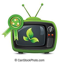 Fernsehen mit Recycling-Abzeichen