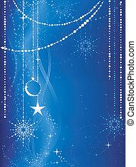 Fester blauer Weihnachts Hintergrund mit Sternen, Schneeflocken, Baubles und Grunge-Elementen.
