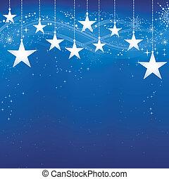 Fester, blauer Weihnachts Hintergrund mit Sternen, Schneeflocken und Grungeelementen.