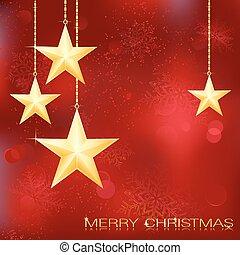 Fester roter Weihnachts Hintergrund mit goldenen Sternen, Schneeflocken und Grunge-Elementen.