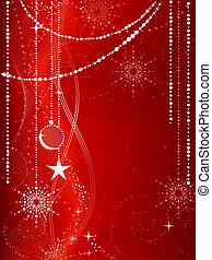 Fester roter Weihnachts Hintergrund mit Sternen, Schneeflocken, Baubles und Grunge-Elementen.