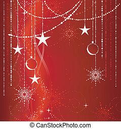 Fester roter Weihnachts Hintergrund mit Sternen, Schneeflocken, Gebäck und Grungeelementen.