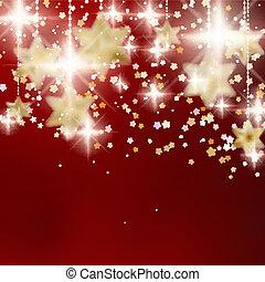 Festliche rote Weihnachtsgeschichte mit goldenen Sternen.