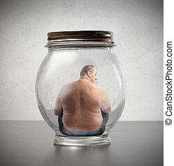 Fetter Mann im Glas