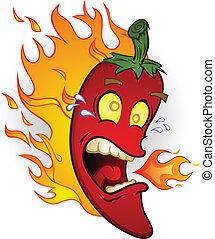 feuer, pfeffer, chili, heiß, karikatur