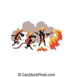 feuerwehrmänner, charaktere, auslöschen, firefighting, feuer, feuerwehrmann, ausrüstung, uniform, vektor, abbildung, hintergrund, weißes