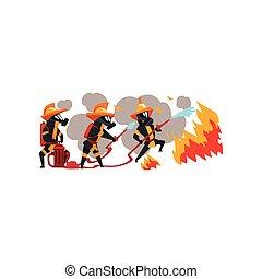 feuerwehrmänner, charaktere, maske, arbeit, feuerwehrmann, feuer, abbildung, uniform, wasser, sprühen, vektor, hintergrund, weißes