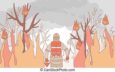 feuerwehrmann, heraus, waldbrand, fire., stellen, karikatur, brennender, feuerwehrmann, vektor, illustration., grobdarstellung, extinguishes
