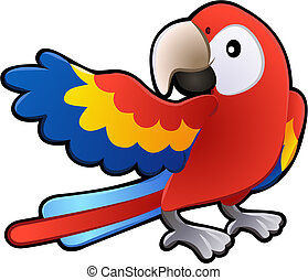 feundliches , macaw, papagai, abbildung, reizend