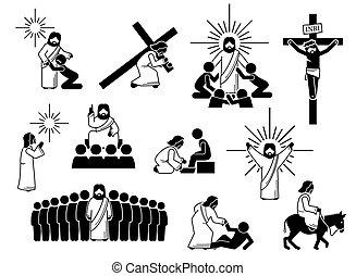 figur, christus, heiligenbilder, pictogram., stock, jesus