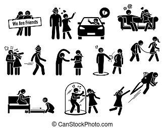 figuren, freund, friendzone, begriff, zone, illustrationen, stock, oder, icons.