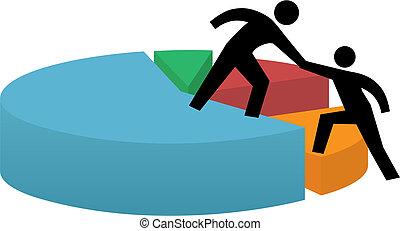 finanzieller erfolg, geschaeftswelt, kreisdiagramm, helfende hand