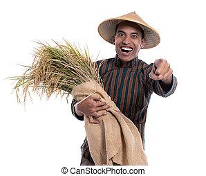 finger, fotoapperat, während, tuch, landwirt, zeigen, seine, tragen, traditionelle