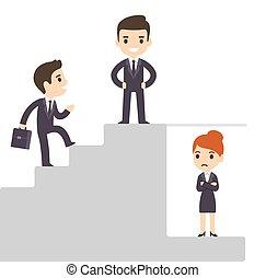 Firmenleiter und Glasdecke