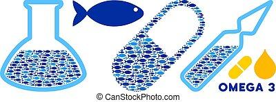 Fisch Omega-3-Säbel und medizinische Glaswaren Vektor-Collage Illustration