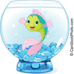 fische, karikatur, aquarium, reizend
