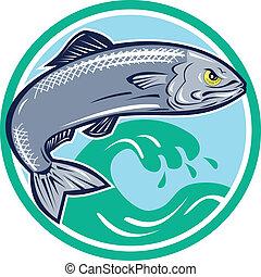 fische, sardine, kreis, springende , retro