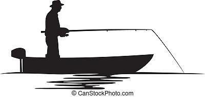 fischer, silhouette, boot