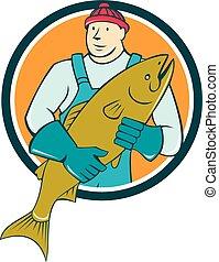 fischhändler, fische, kreis, besitz, karikatur