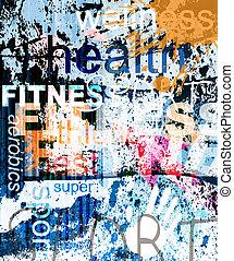 FITNESS. Ein Wort Grunge Collage im Hintergrund.