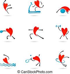 Fitness-Herz-Ikonen