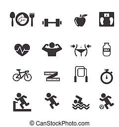 Fitness- und Gesundheits-Icons eingestellt.