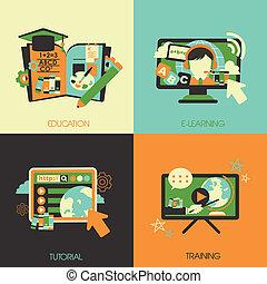 Flaches Design für die Bildungskonzepte.