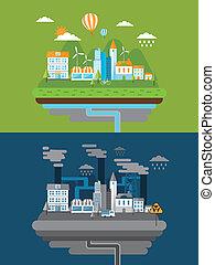 Flaches Design für grüne Energie und Umweltverschmutzung.