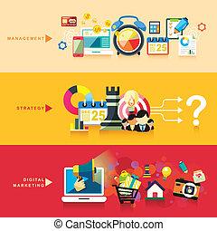 Flaches Design für Management, Strategie und digitales Marketing.