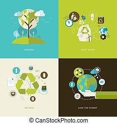 Flachkonzept-Icons für das Recycling