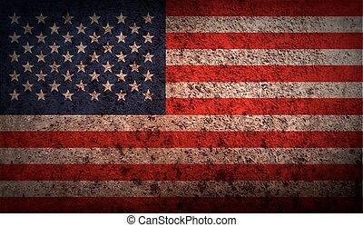 Flagge der USA mit alter Textur. Vector