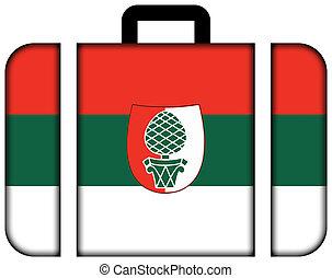 Flagge von Augsburg. Gehäuse Icon, Reise- und Transportkonzept
