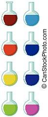 flasche, chemische , runder , gefüllt, verschieden, farbe