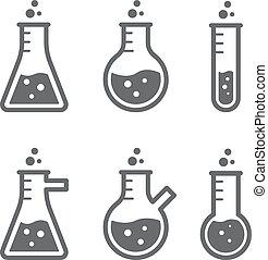flasche, laboratorien, skizzen