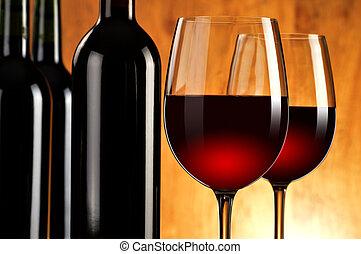 flaschen, weingläser, zwei, zusammensetzung, rotwein