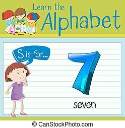 Flashcard S ist für sieben.