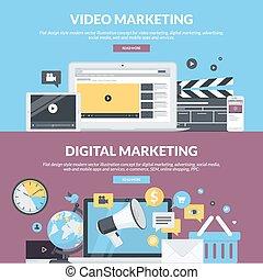 Flat Design Banner für Marketing