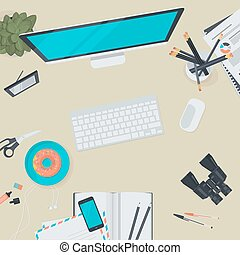 Flat design concept for workspace