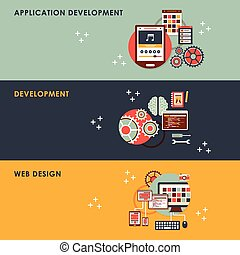 Flat design concept graphic for web development.