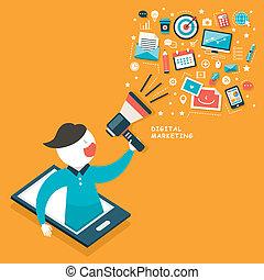 Flat design digital marketing concept.