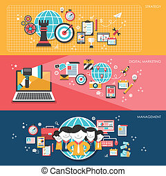 Flat Design für Business Marketing Konzepte.