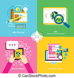 Flat design for mobile service and web marketing.